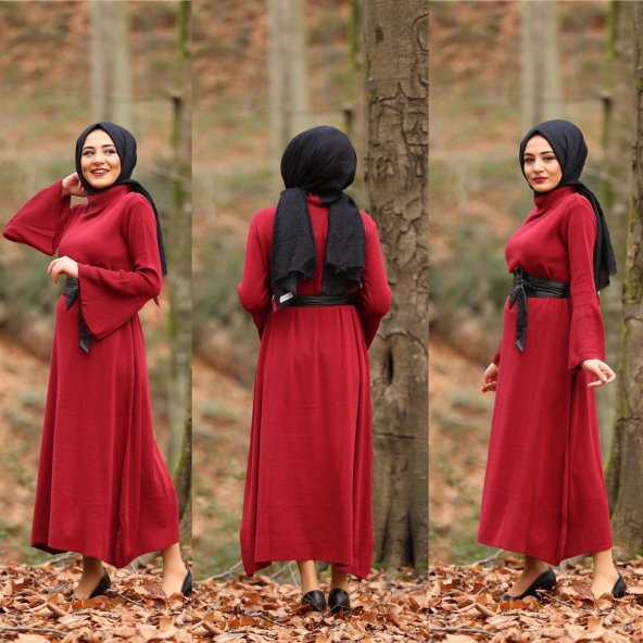 3982 Kol Volanlı Triko Elbise