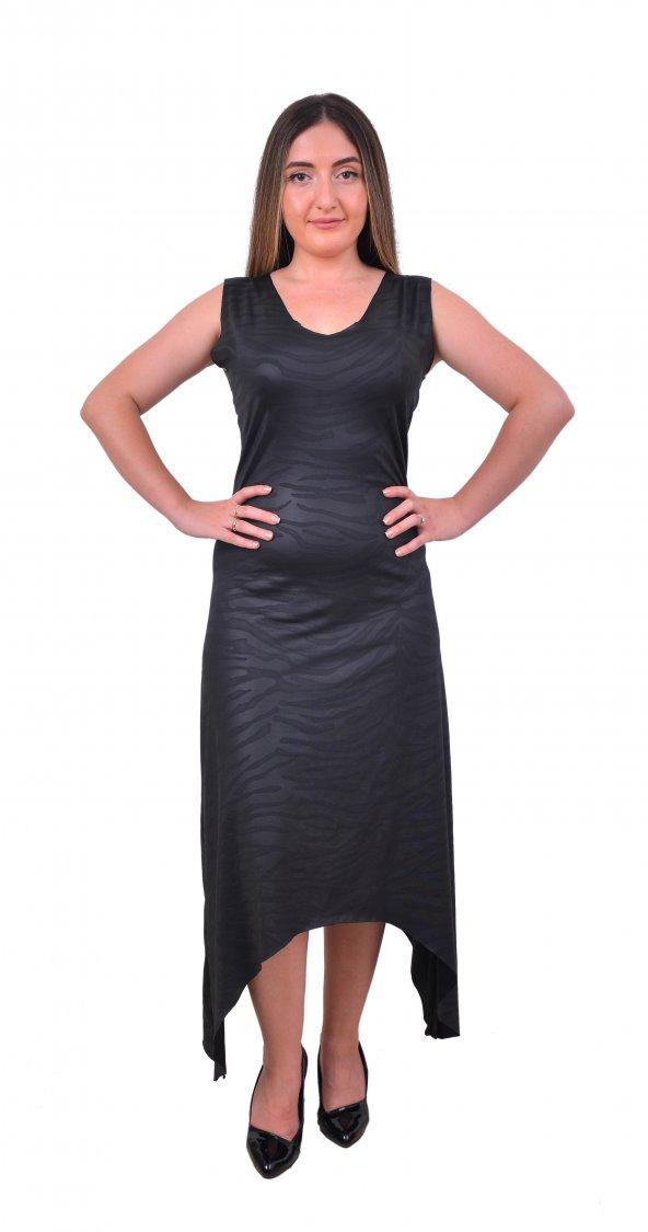 Perimir Özel Tasarım Siyah Deri Baskılı Elbise