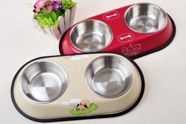 Kedi Köpek İkili Çelik Mama ve Su Kabı Kaydırmaz Taban HB1018
