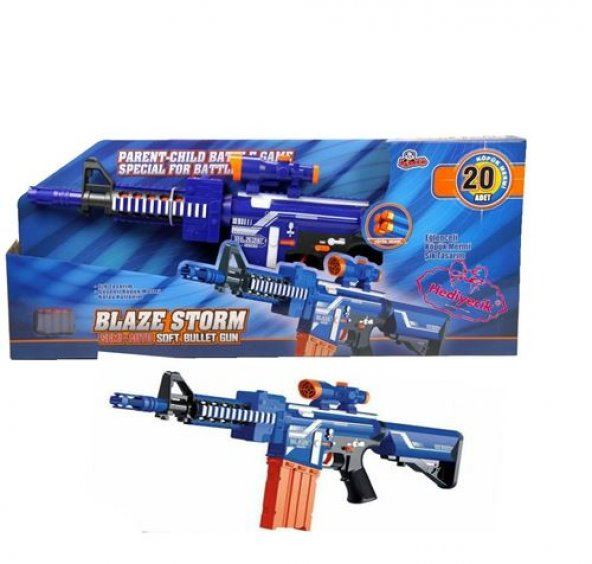 Blaze Storm 7054 Pilli Otomatik Sünger Atan Yumuşak Mermili Tüfek M4 20