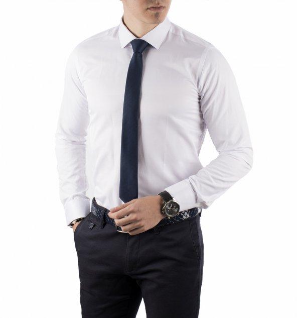 DeepSEA Pamuk Saten Slimfit Klasik Uzun Kollu Erkek Gömlek 1802002
