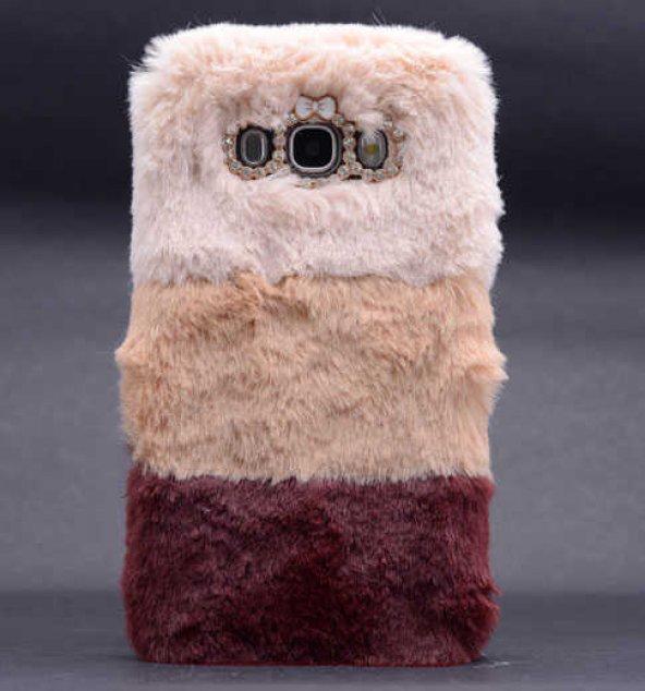 Samsung Galaxy J7 Kılıf Lopard Kulaklı Peluş Kapak
