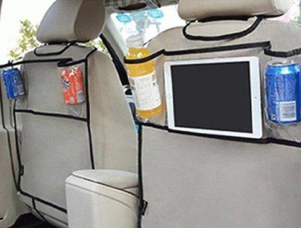 Oto Koltuk Arkası Şeffaf Tablet ve İçecek Organizeri