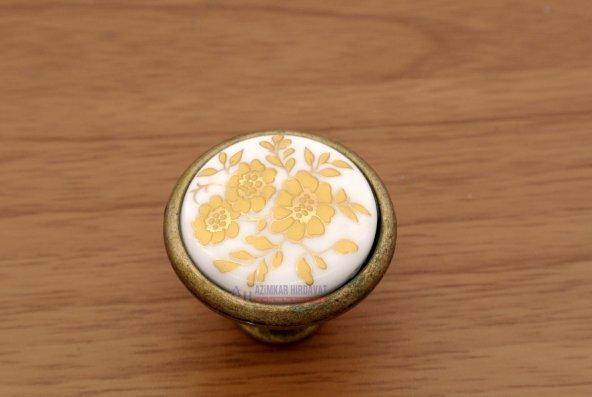 Porselen Düğme Kulp Antik Sarı Çiçek