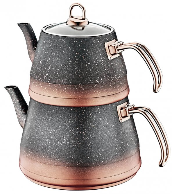 OMS Granit Küçük Boy Çaydanlık Takımı BAKIR