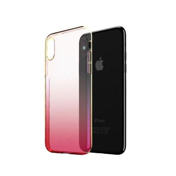 iPhone X Kılıf Transparan Renkli Sert Kapak  + Nano Ekran Koruyucu
