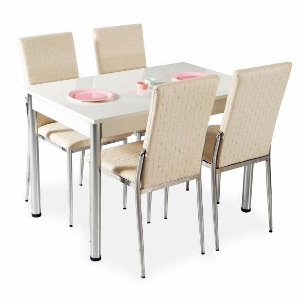 Evform Favorite 4 Kişilik Masa Sandalye Mutfak Masası Takımı - Kr