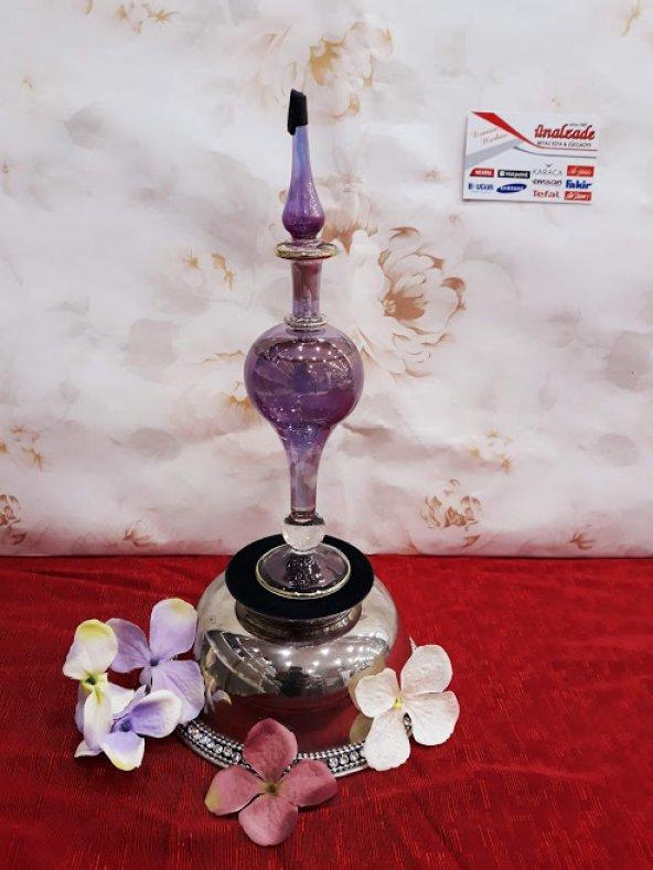 Üfleme Cam Kolonya Şişesi Parfüm Şişesi Güldanlık 2 Adet