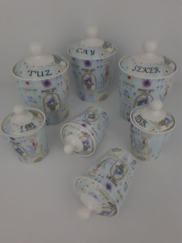 Porselen 7 Parça Çiçekli Baharat Takımı