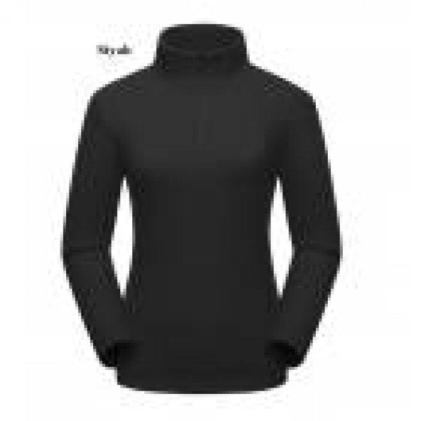Kadın Siyah Sweatshirt,Yarım Fermuarlı Kazak