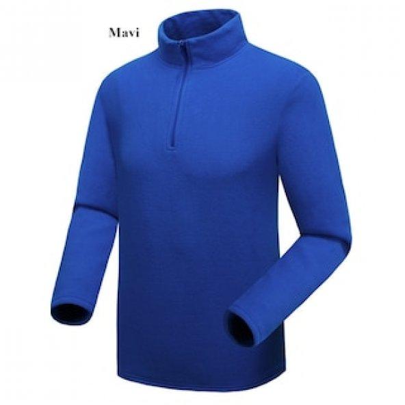 Kadın Polar Mavi Sweatshirt,Yarım Fermuarlı Kazak