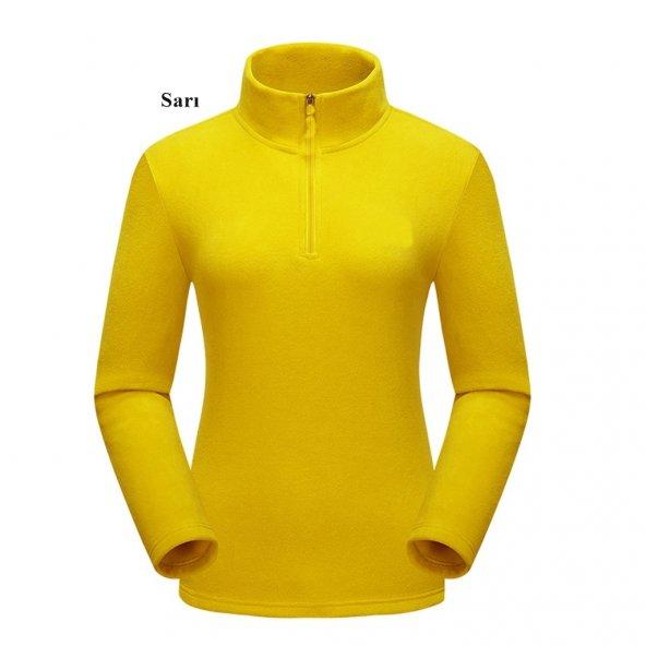 Kadın Polar Sarı Sweatshirt,Yarım Fermuarlı Kazak