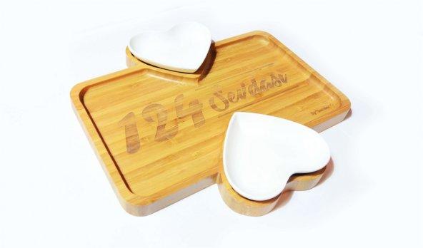 124 Sevdası Logolu İkili Porselenli Bambu Kahvaltı Tabağı
