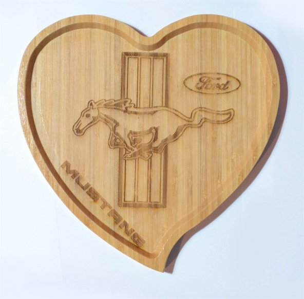 Ford Mustang Logolu Kalp Bambu Büyük Tabak