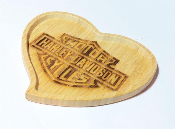 Harley Davidson Logolu Kalp Bambu Küçük Tabak