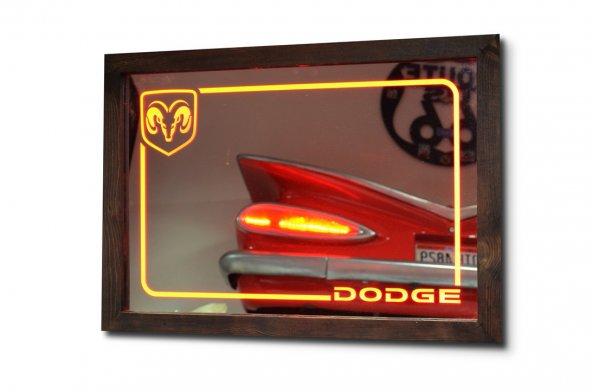 Dodge Kırmızı Ledli Dekoratif Ayna