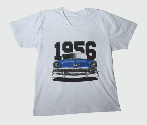 M T-Shirt V Yaka 1956 Chevrolet Belair Dijital Baskılı Beyaz