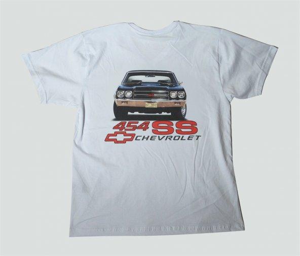 L T-Shirt V Yaka 1970 Chevrolet Chevelle SS 454Cİ Dijital Baskılı Beyaz
