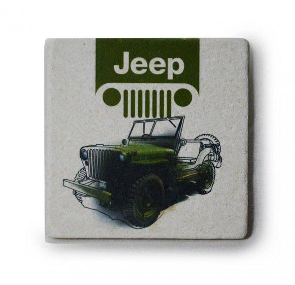 Jeep Logo-Resim Baskılı Doğal Limra Taşı Bardak Altlığı