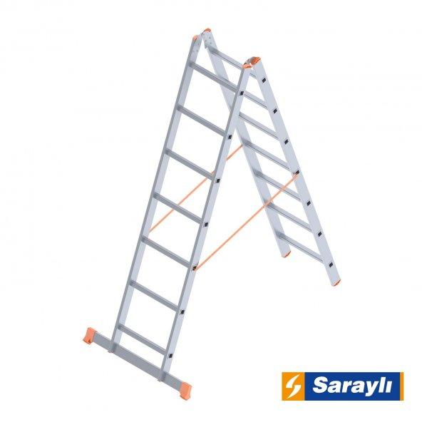 2X7 Basamak Çift Sürgülü Endüstriyel Merdiven