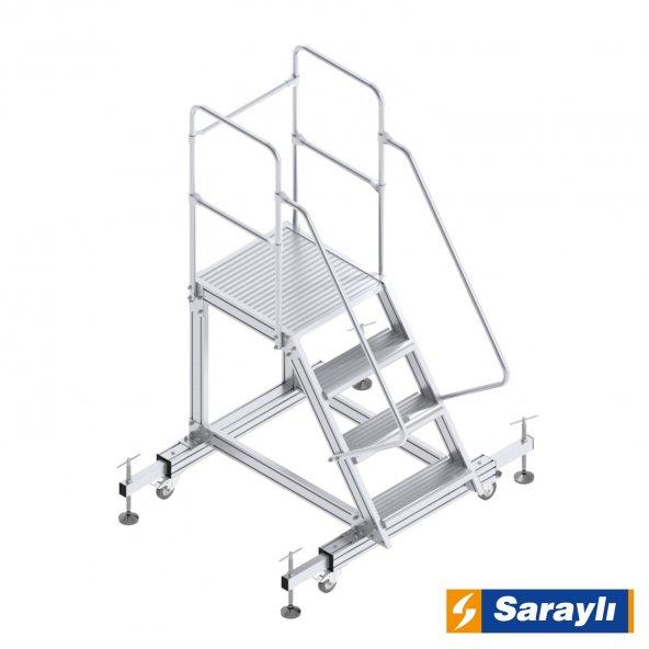 Ayarlanabilir Ayaklı Tek Çıkışlı Platform Merdiven