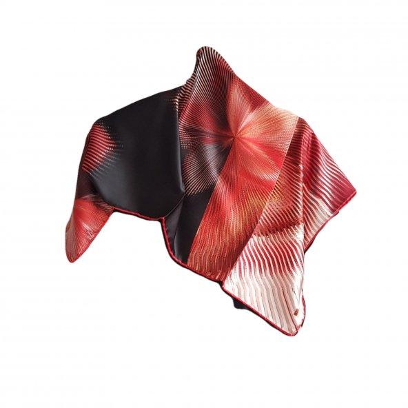 Hipnoz Desenli Eşarp - Kırmızı