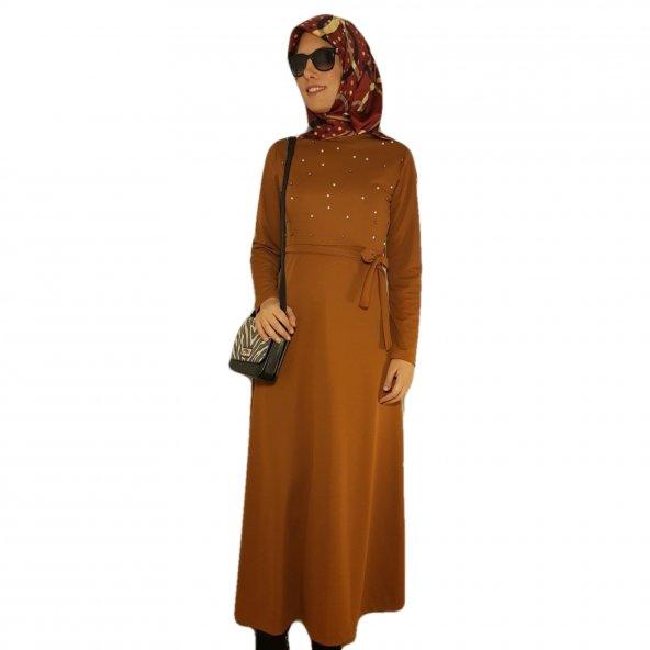 Göğüs Kısmı İnci İşlemeli Elbise - Kiremit
