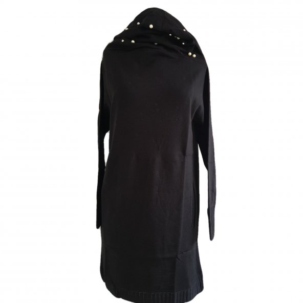 İnci İşlemeli Kapşonlu Uzun Tunik - Siyah