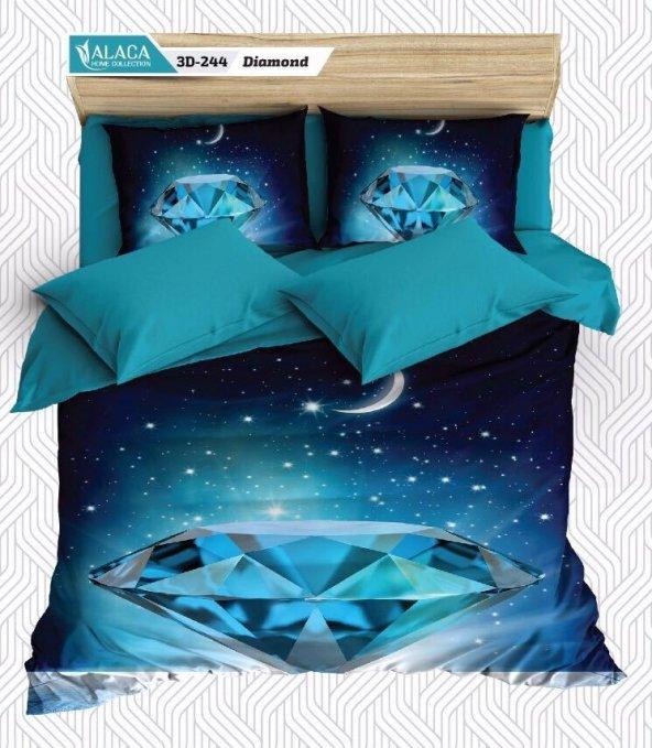 Alaca 244 Diamond 3D Çift Kişilik Nevresim Takımı