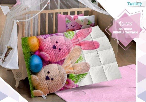 Alaca 3002 Renkli Tavşan 3D Bebek Uyku Seti