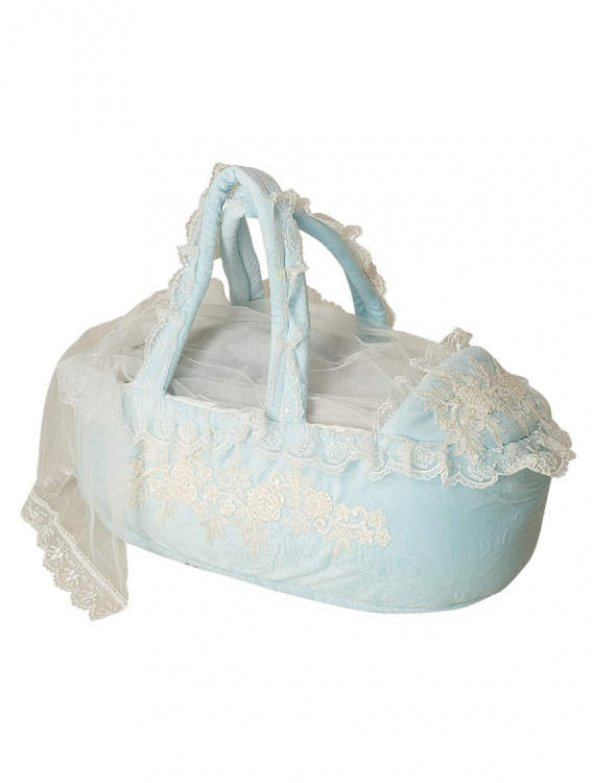 Mecit Taş İşlemeli Mavi Bebek Puset 520