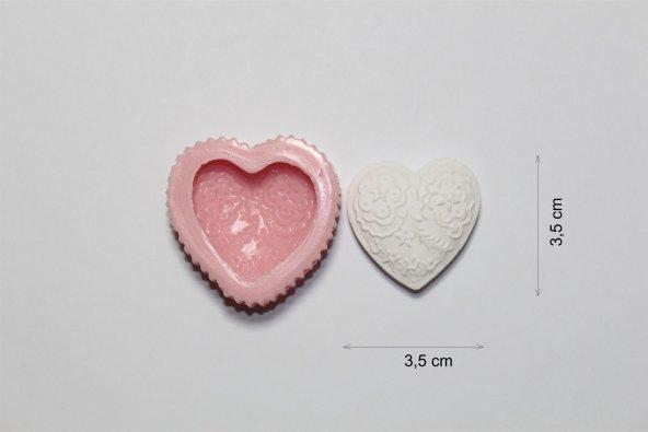 Desenli minik kalp silikon kalıp