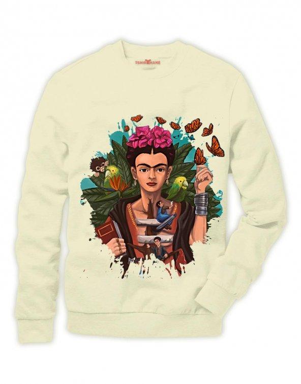 Tshirthane Frida Kahlo Sweatshirt Uzunkollu