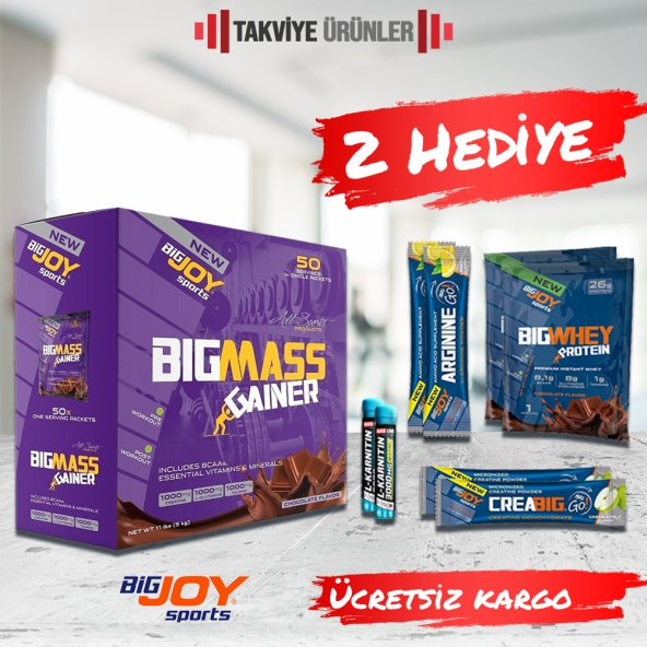 Bigjoy Bigmass Gainer 5000 gr 50 Saşe Karbonhidrat Tozu +2 Hediye