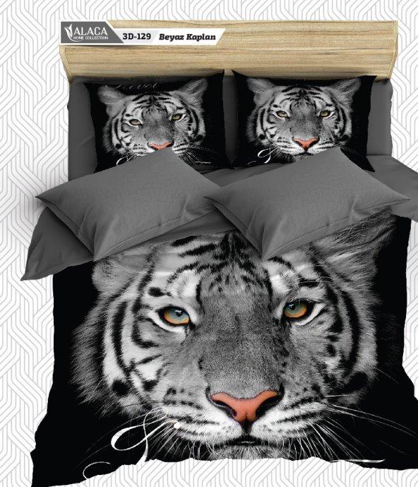 Alaca 129 Beyaz Kaplan 3D Çift Kişilik Nevresim Takımı