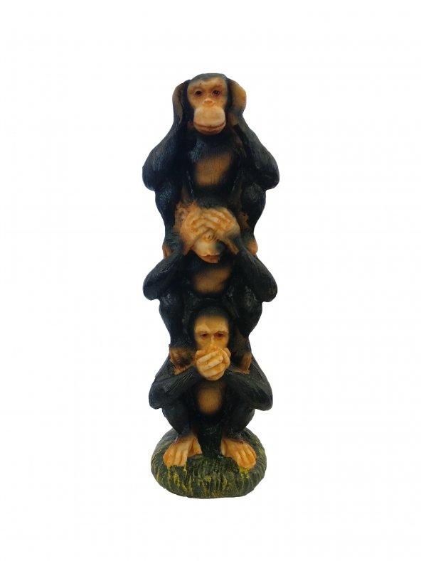Dekoratif Üst Üste Binmiş Üç Maymun Biblo Ev Dekorasyon Süs