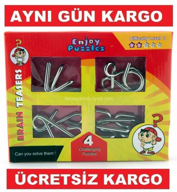 Metal Puzzle Set 4lü Büyük Boy Eğitici Puzzle