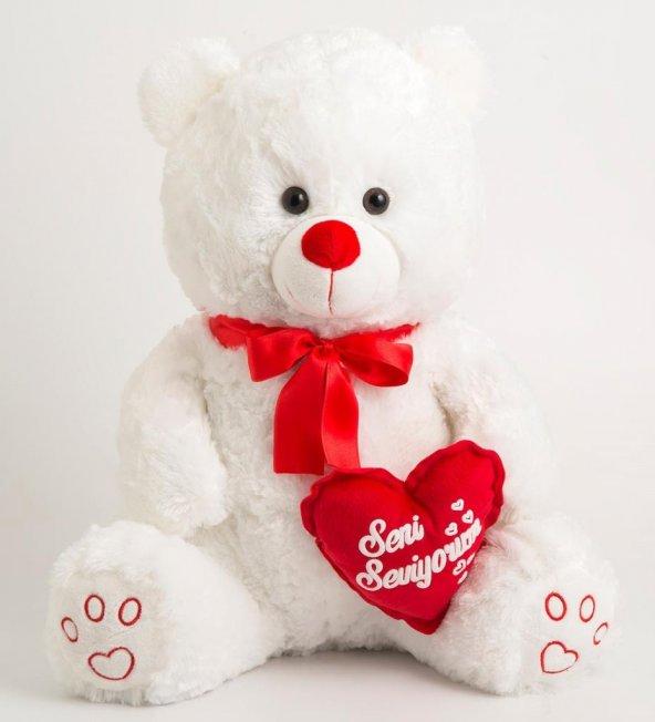 Peluş Ayı Seni Seviyorum Kalpli Ayı 50cm