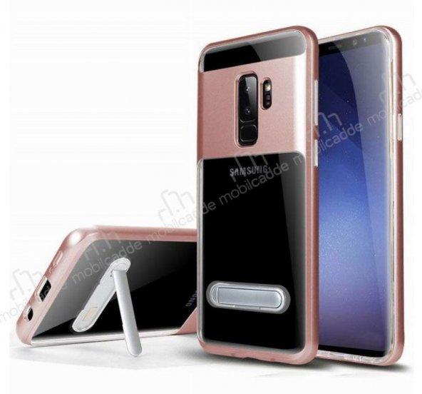 Eiroo Samsung Galaxy S9 Plus Rose Gold Kenarlı Standlı Kılıf