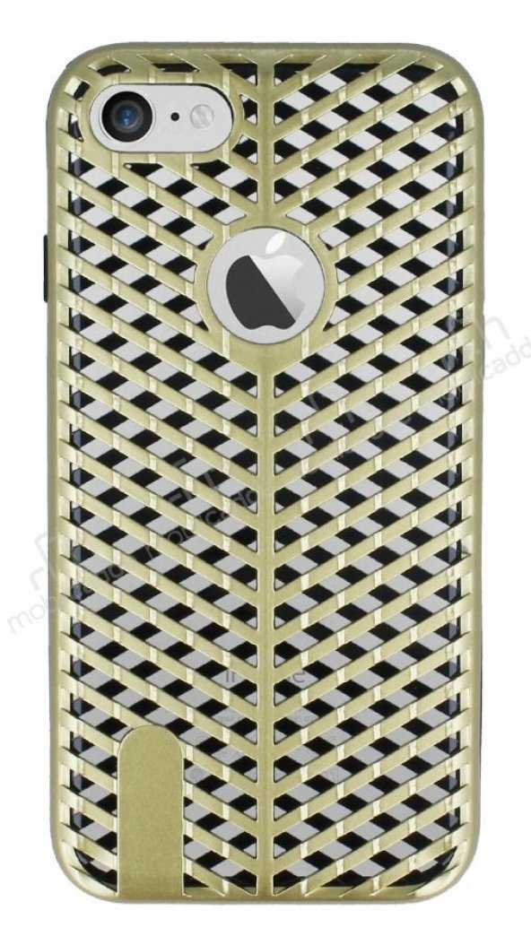 iPhone 7 Çift Katmanlı Delikli Gold Rubber Kılıf