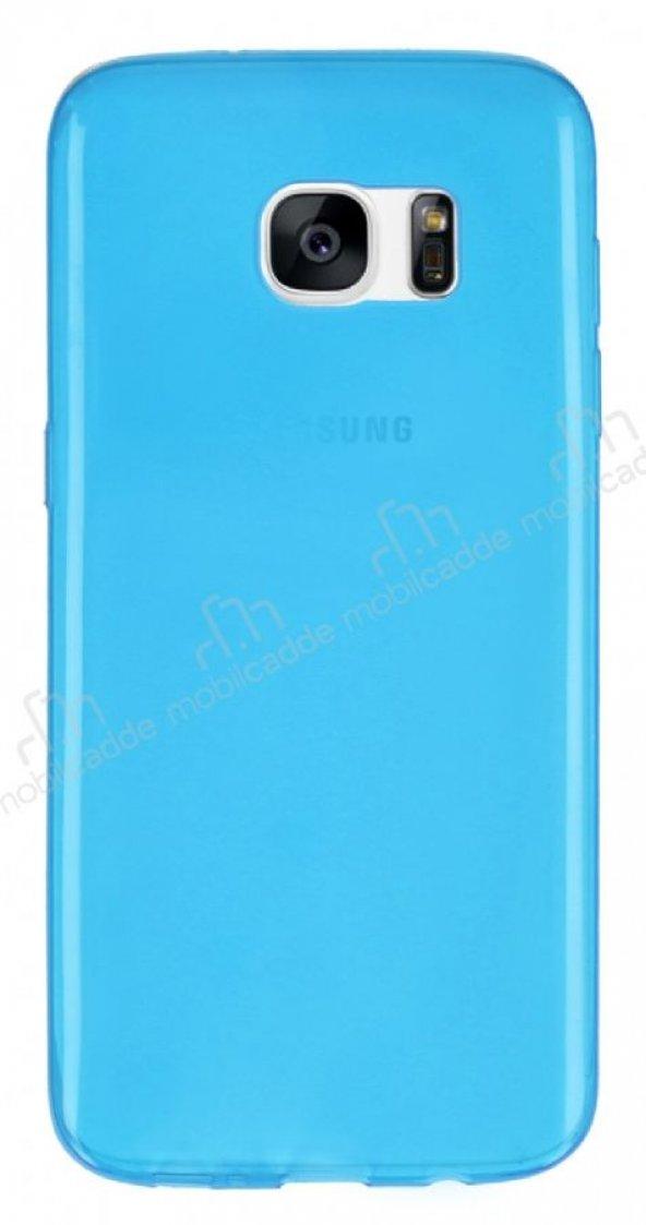 Samsung Galaxy S7 edge Ultra İnce Şeffaf Mavi Silikon Kılıf