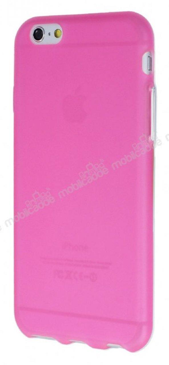 iPhone 6 Plus / 6S Plus Metal Tuşlu Şeffaf Pembe Silikon Kılıf