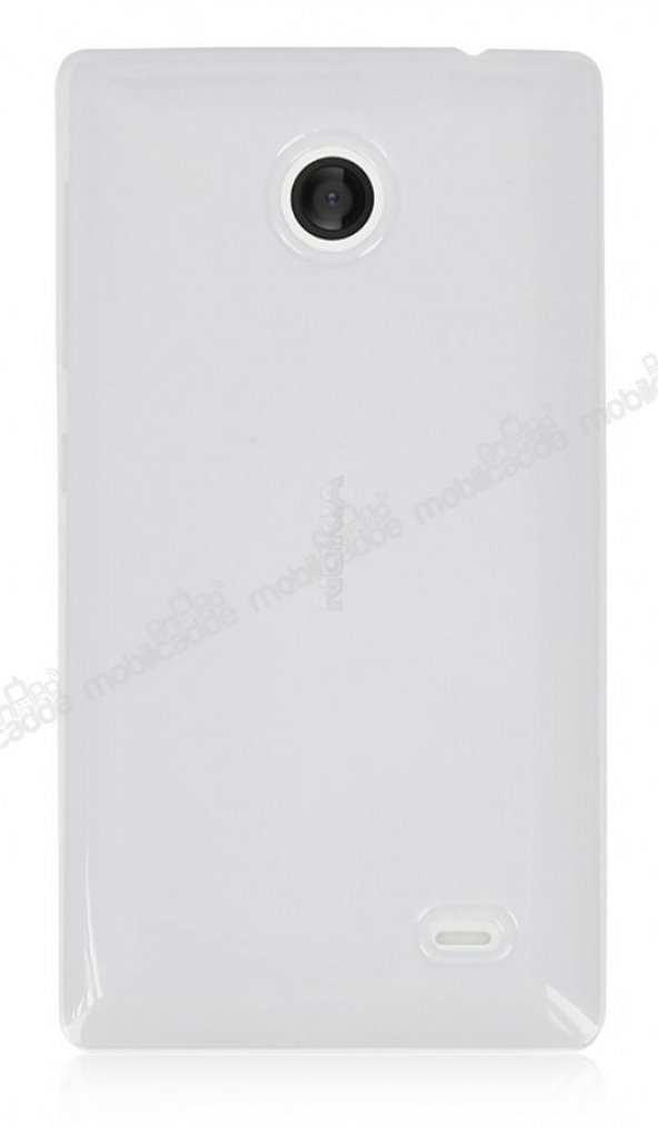 Nokia X / X Plus Beyaz Şeffaf Silikon Kılıf