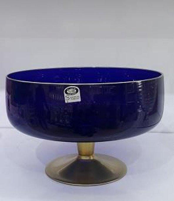 Yeni Cam Ayaklı Mavi Büyük Boy Salata KasesiMeyvelik Sunum 24cm