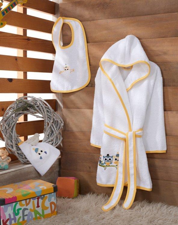 Z&R HOME Bambu 3-4 Yaş Çocuk Bornoz Seti - Tiny Owils
