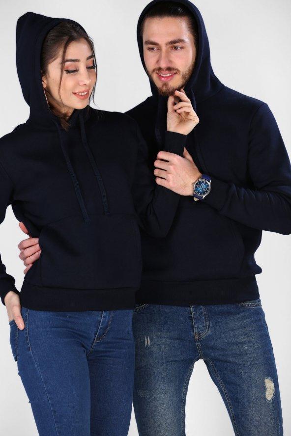 Sevgili Kombinleri Lacivert Sweatshirt Basic Kapüşonlu
