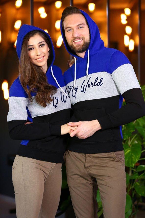 Sevgili Kombinleri Renkli Sweatshirt Kapşonlu My World