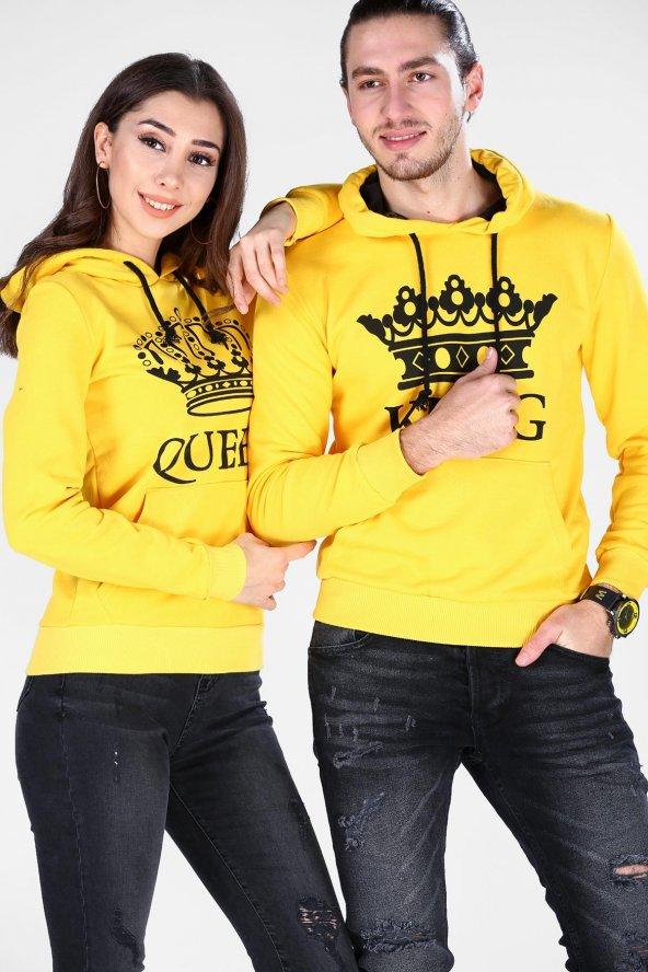 Sevgili Kombinleri Sarı KING-QUEEN Kapüşonlu Kanguru Cepli