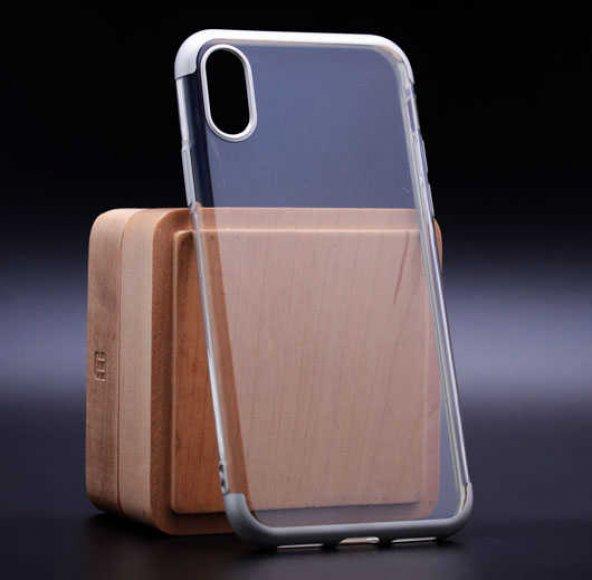 Apple iPhone X Kılıf Dört Köşeli Lazer Silikon
