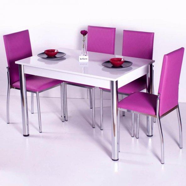 Evform Favorite 4 Kişilik Masa Sandalye Mutfak Masası Takımı - Fu